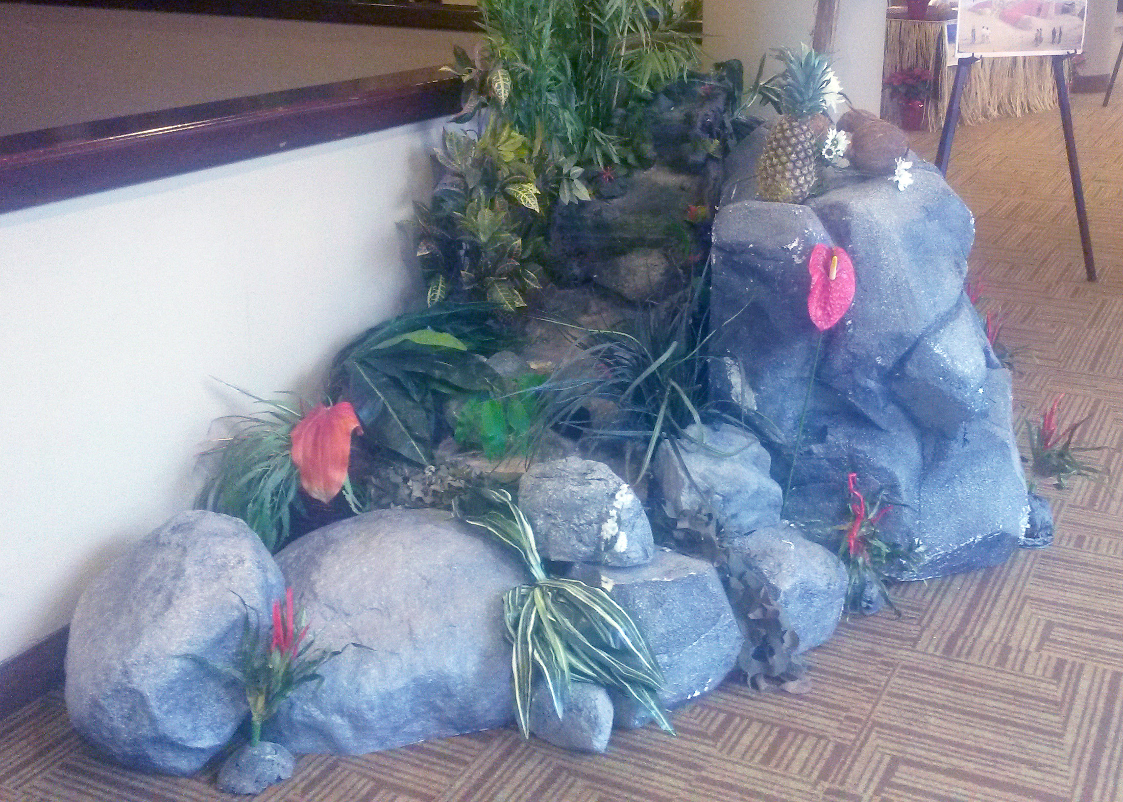 tropical waterfall rocks plants flowers