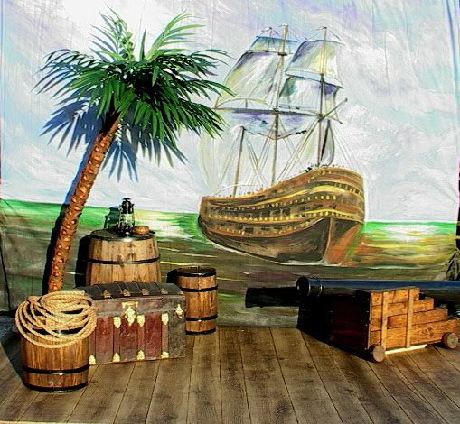 tropical pirate scene ship backdrop palm tree treasure chest cannon
