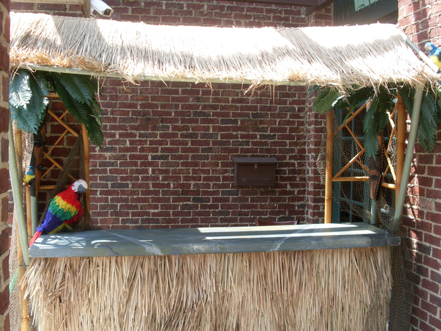 tropical tiki bar parrot
