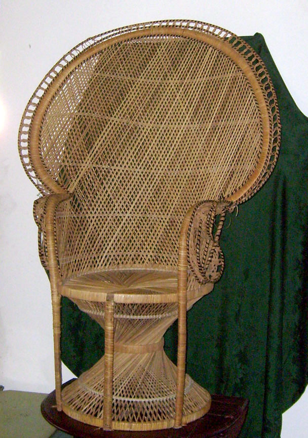 peacock rattan wicker natural chair addams family
