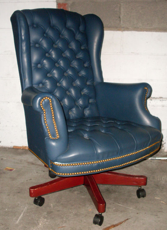 blue tufted office swivel rolling chair addams family