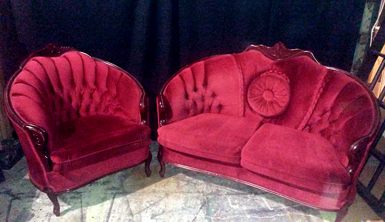 button pillow matching loveseat chair red vintage addams family