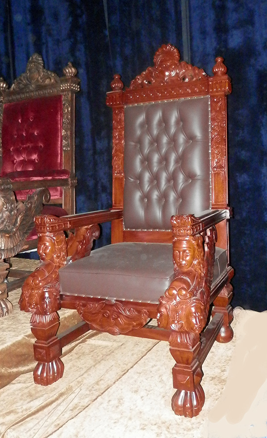 Throne Brown Leather XXL Gothic Addams Family