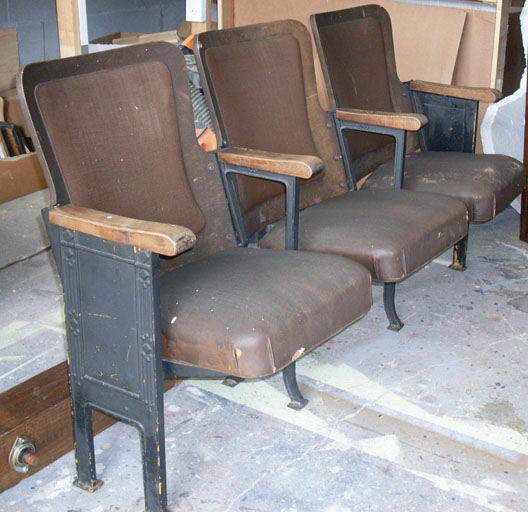 annie Theatre Seats set of three vintage brown
