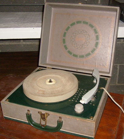 Grease portable record player open green spear