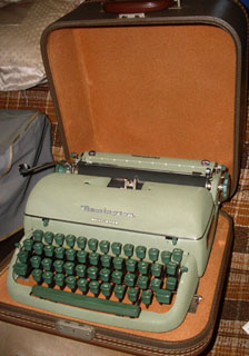 Typewriter - Remington Quiet Rider, Green Metal  How to Succeed in Business
