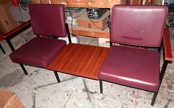 seating commercial office lobby maroon vinyl wood table