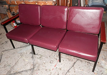 seating commercial office lobby maroon vinyl wood arms