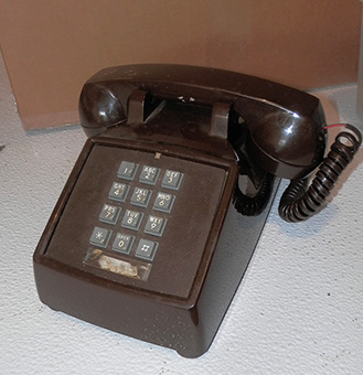 push button telephones corded 1970 brown desktop