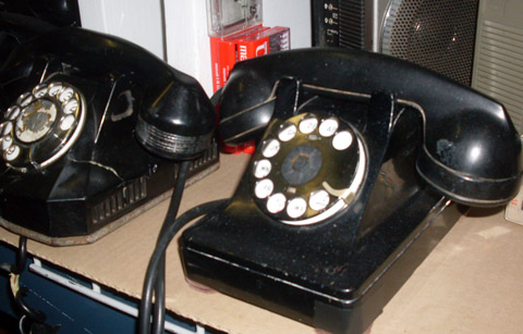 black rotary phone telephone corded