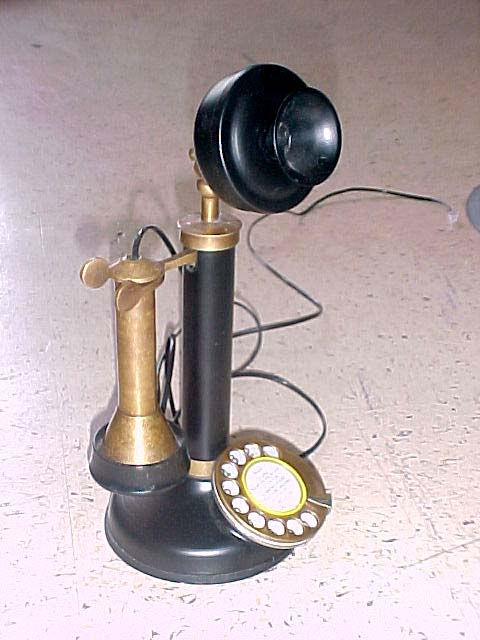 candlestick phone black gold