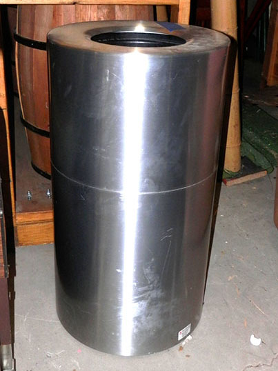 public trash can tube style stainless steel silver