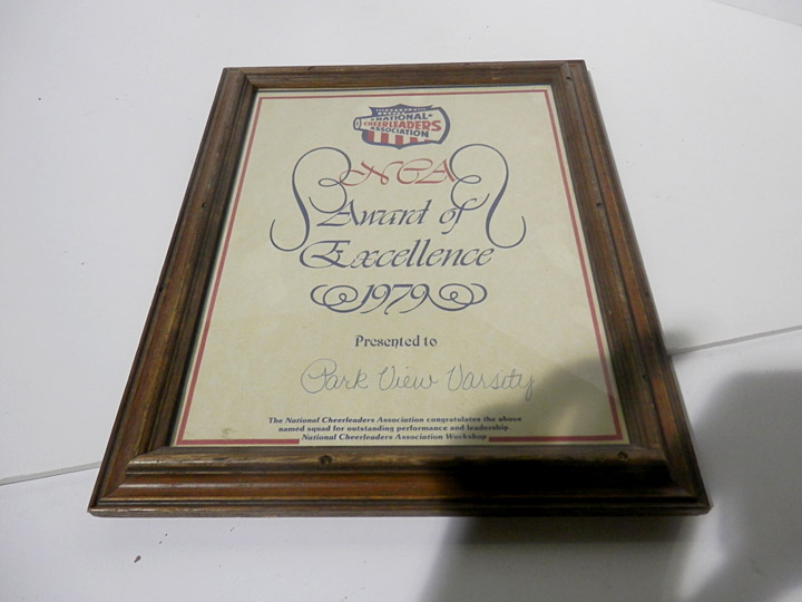 award of excellence 1979 plaque NCA national cheerleaders association