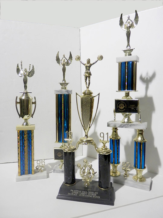 blue and gold trophies cheerleading trophy