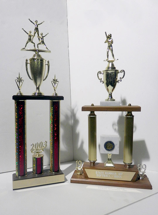 red and gold cheerleading trophy softball trophy