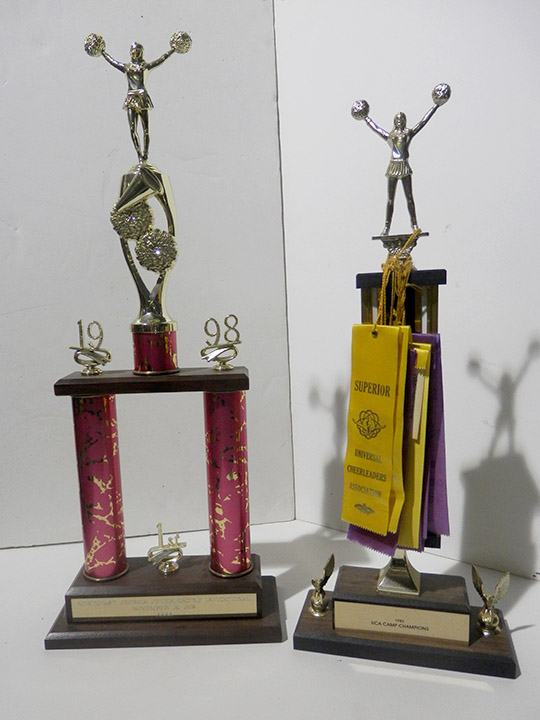 pink 1998 cheerleadin trophy gold yellow purple ribbons trophy