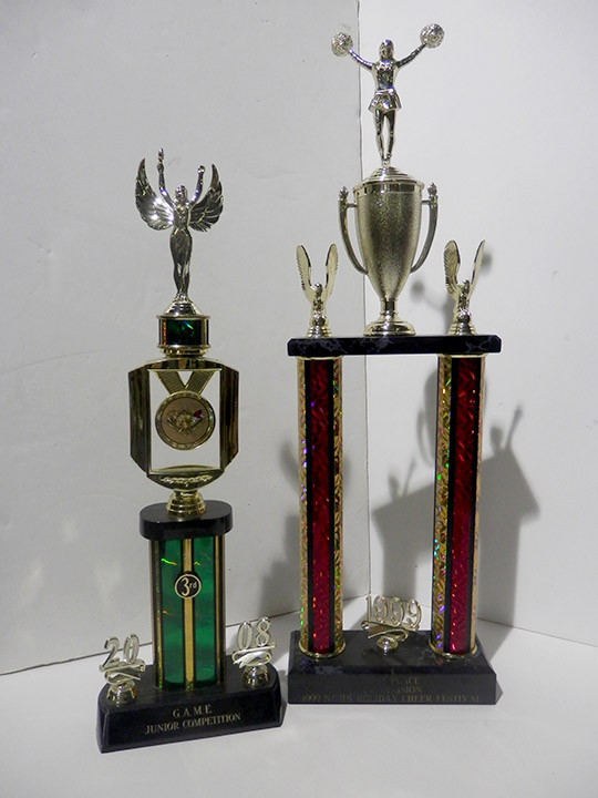 green angel red cheerleading trophy