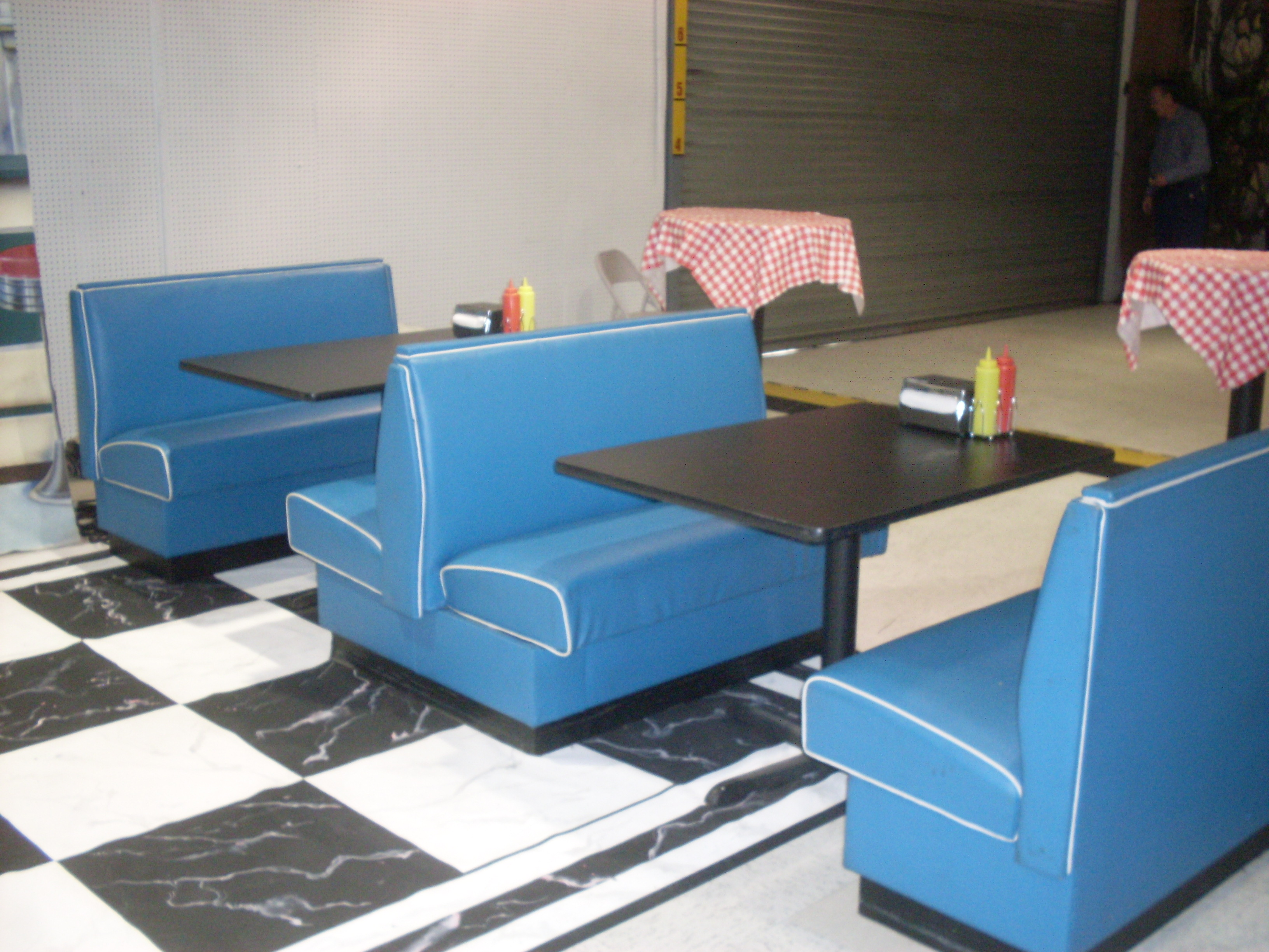 Grease diner booths blue vinyl