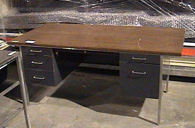 office furniture desk metal faux 1960s steel wood