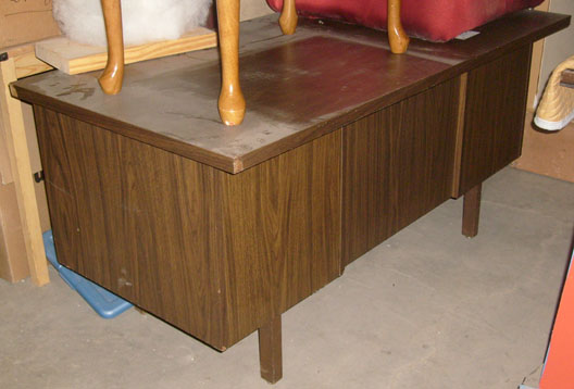 office furniture desk wood veneer 1970s 1960s