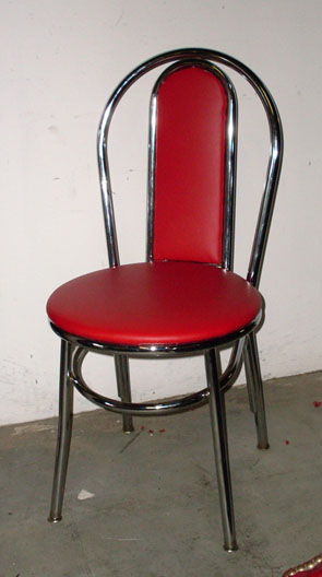 Grease diner chair brass red vinyl