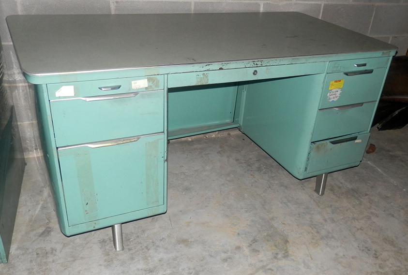 vintage furniture office sea green blue aqua