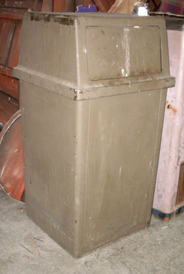 trash can hard plastic swinging lid tan