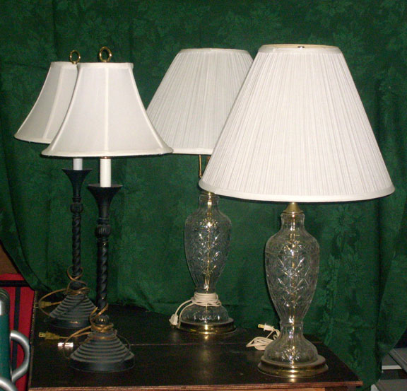 table lamp pair shades glass clear black
