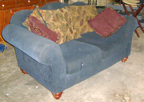 sofa furniture love seat blue cushions pillows contemporary wood