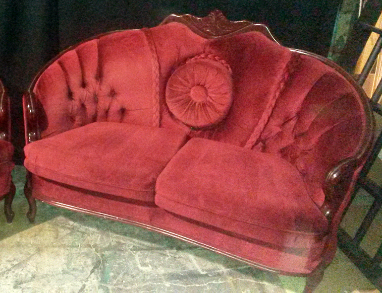 Button pillow vintage red loveseat