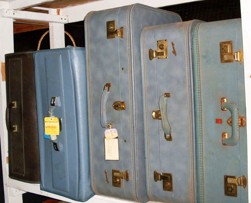 luggage vintage 1970s light blue