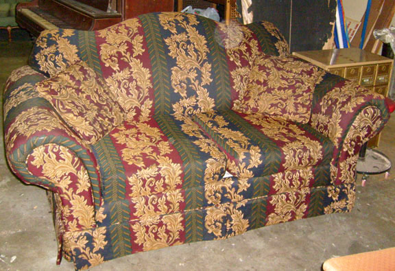 sofa furniture love seat red blue beige paisley