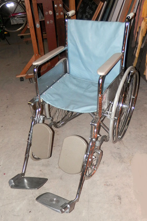 Wheelchair 50s 60s lt blue left profile 1950s 1960s