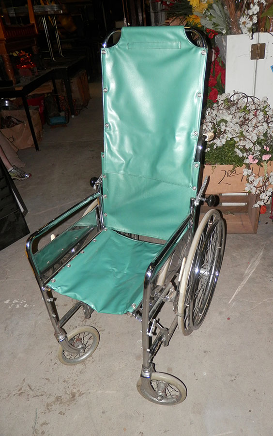 wheelchair medical health equipment wheels metal frame removable back support 1950s 1960s sea foam green high back highback
