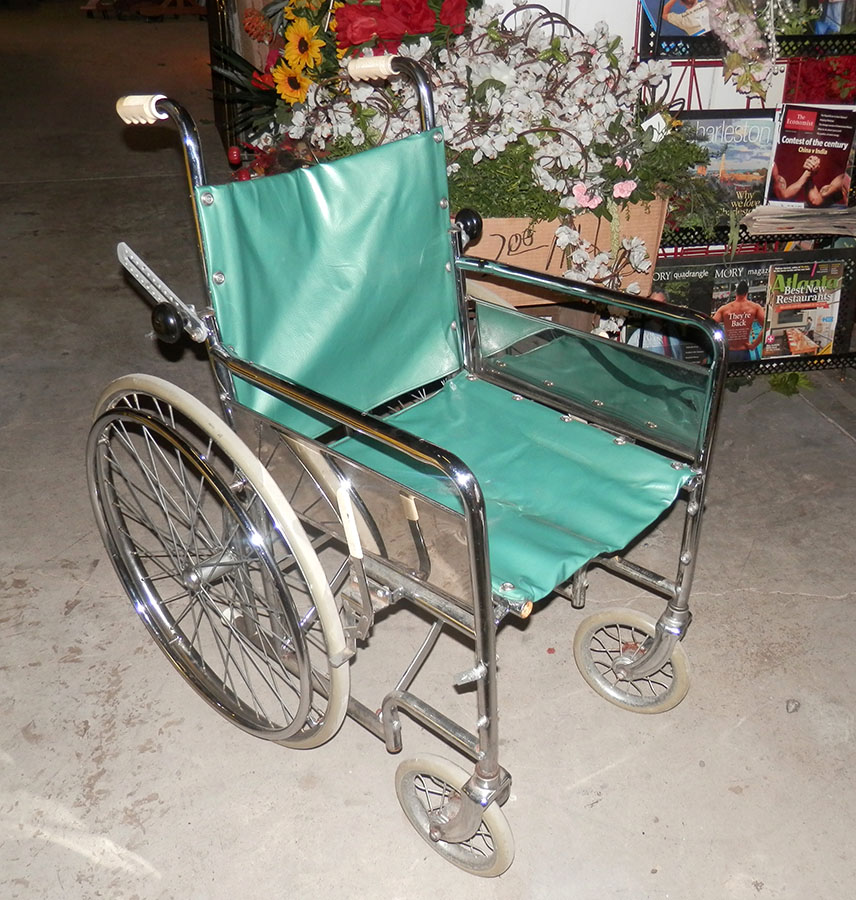 wheelchair medical health equipment wheels metal frame removable back support 1950s 1960s sea foam green