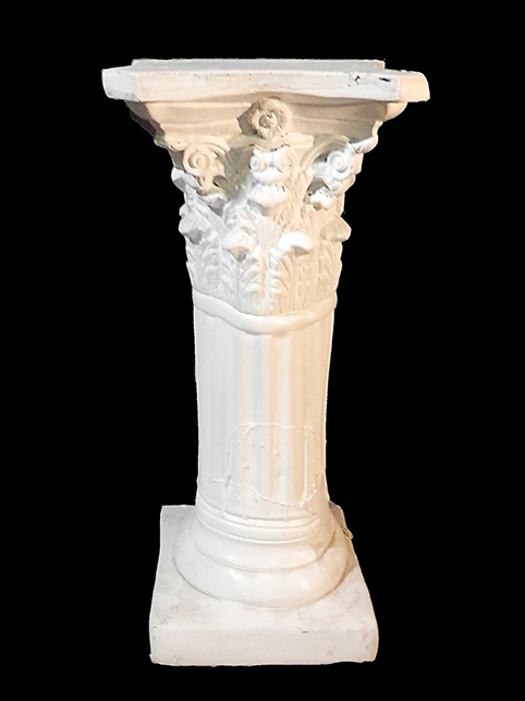Pedestal - white corinthian style - 29t x 8d - top and base - 12x12