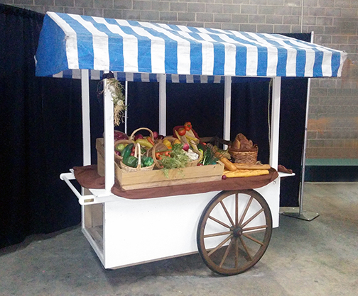 food cart fruits vegetables breads fake foods wagon wheel market medieval village