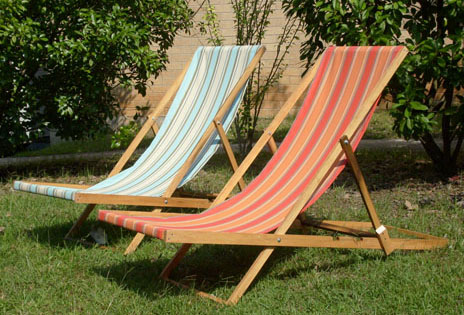 wood lounge chair striped tropical