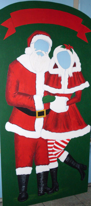 photo cut out santa and mrs claus red christmas