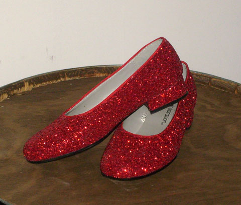 Wizard of Oz ruby slippers red glitter dorothy