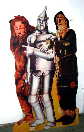 Wizard of Oz cardboard stand-up Tin Man Scarecrow Cowardly Lion MGM movie
