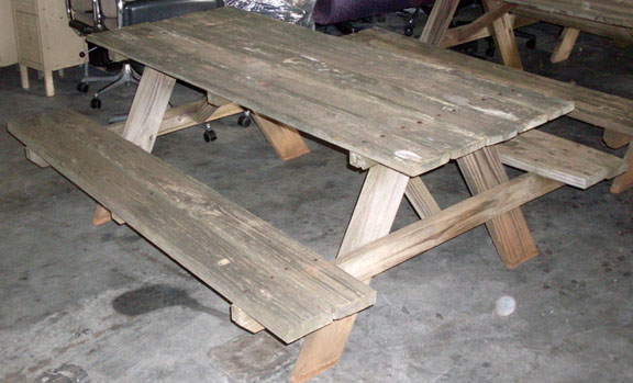 pajama game picnic table wooden benches