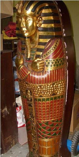 egyptian props sarcophagus pharoahe pharoah king gold mummy brown red green leaf