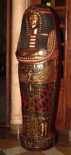 egyptian props sarcophagus queen red gold green leaf mummy