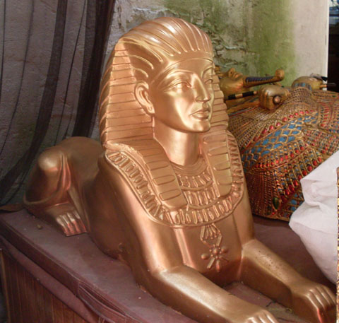 egyptian props fiberglass gold sphinx