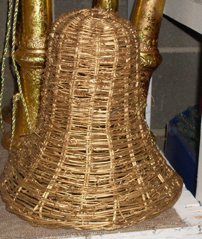 bell wicker gold christmas decorations