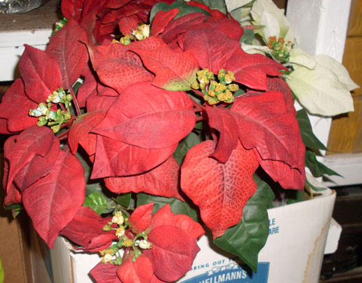 poinsettias red artificial fake flower christmas leave green