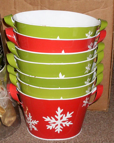 christmas pails buckets red and yellow