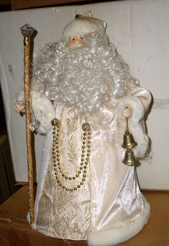 christmas tree topper santa saint st nicholas white