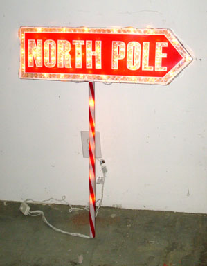 north pole sign lighted sign directional wire outdoor christmas